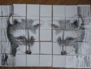 3 Pointilism Racoon mural pieces