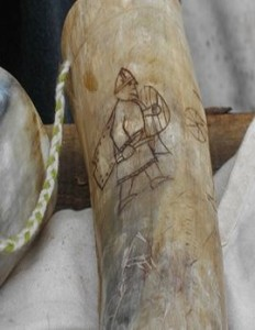 Etched illustration on ivory