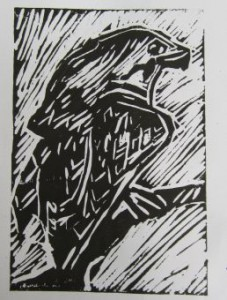 Mcd's 1 color lino print bird