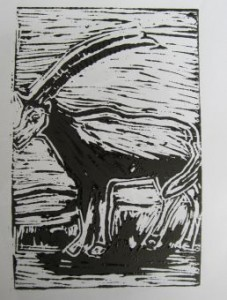 Mc'ds 1 colour lino print goat